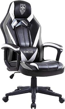 Vonesse Chaise Gaming pour Adultes, Fauteuil Gamer avec Massage, Haute Dossier Fauteuil de Jeu PC, Chaise de Bureau Style Rac
