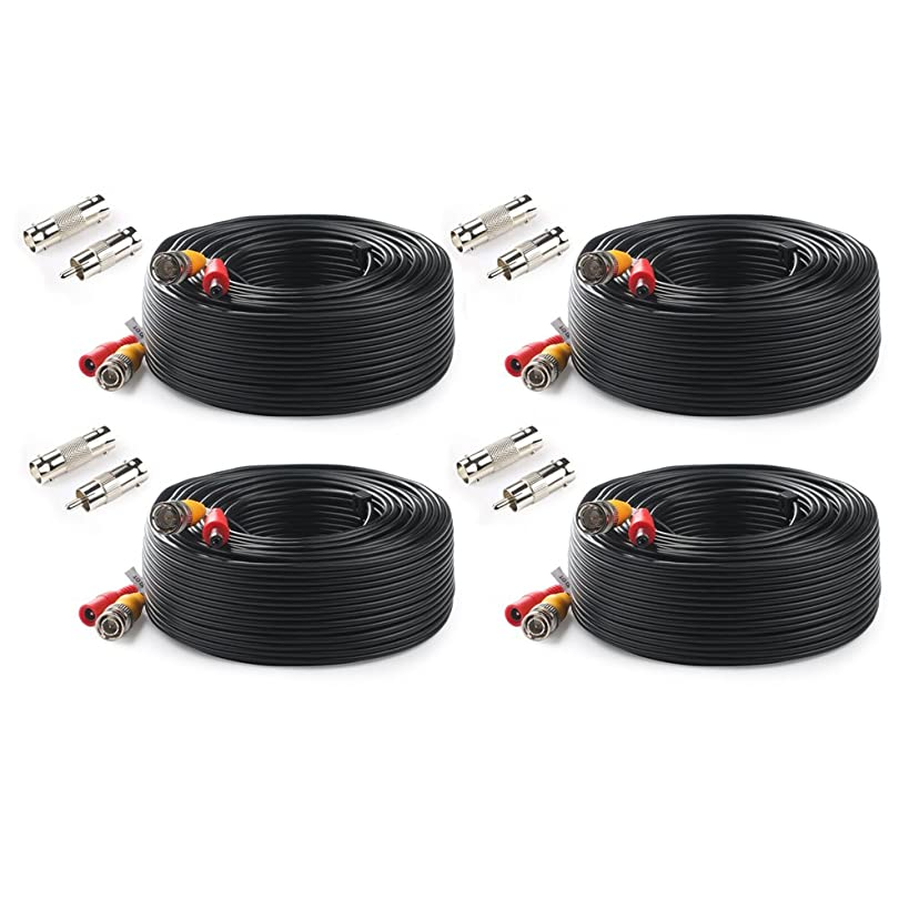 Tonton 4-Pack 100 Feet 30Metres Pre-Made All-in-One BNC Cables for Security Camera System and CCTV Bullet Cameras or Dome Cameras(Black)