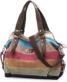 SNUG STAR Handtasche Damen,Canvas Tasche Damentasche Multi-Color-Striped Umhängetasche Damen Groß Schultasche Canvas Shopp...