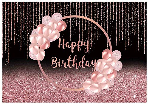 Funnytree 7x5ft Happy Birthday Party Backdrop Rose Gold Lady Girl Photography Background Women Glitter Pink Balloons Cake Table Decorations Sweet 16th 30th 40th 50th 60th Banner Photo Booth