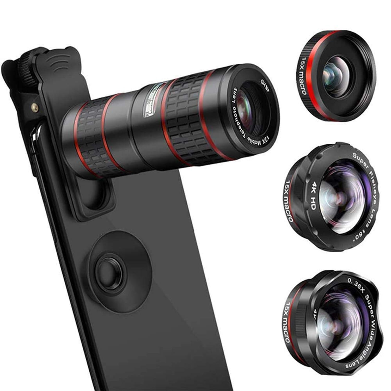 BF-DCGUN Phone Camera Lens, 5 in 1 Cell Phone Camera Lens 12X Telephoto Lens Wide Angle Macro Fisheye