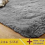 MODKOY Set de alfombras Tela Lavable Tejidas Shaggy Suaves Pelusa imitación mullida Lana Piel contemporánea para Cocina Baño Exterior Salon Grandes 220x280cm Ceniza de Plata