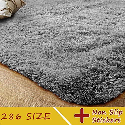 Kashmir Teppich Waschbar Pflegeleicht Prime Shaggy Flachflor Anti Rutsch Hochflor Langflor Flauschige Weiche Modern Fell Optik für Esszimmer Flur Kinderzimmer 60x80cm Silber Asche