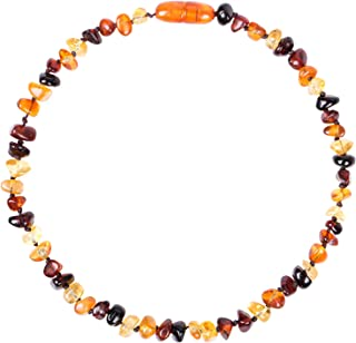 Moonflor Amber Necklace (Unisex Honey 12.5 Inches/5.5 Inches) - Certified Premium Quality Raw Baltic Sea Amber