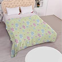 YOLIYANA Nursery Various Flannel Blanket,Baby Toy Drawing Pattern with Soft Colored Teddy Bears and Wildflowers Decorative for Hotel,68