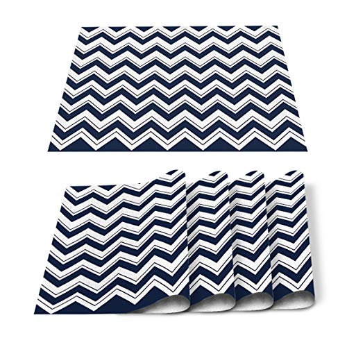 Roses Garden Placemats for Dining Table Set of 4, Navy Blue and White Ripples Place Mat Washable Polyester Heat-Resistant Kitchen Table Mat for Home Decorations