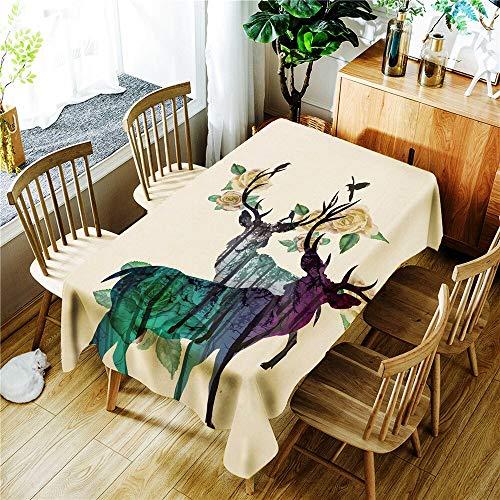 XXDD Mantel a Prueba de Agua con Estampado de Jirafa y pájaro de árbol Grande Abstracto, Mantel Rectangular Lavable a Prueba de Polvo A5 150x210cm