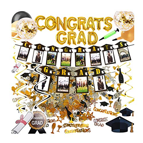 Graduation Party Decorations Supplies Congrats Grad Banner, Photo Garland Banner, Hanging Swirls, Confetti, 15pcs Gold and Black Balloons, Hand Pump Included