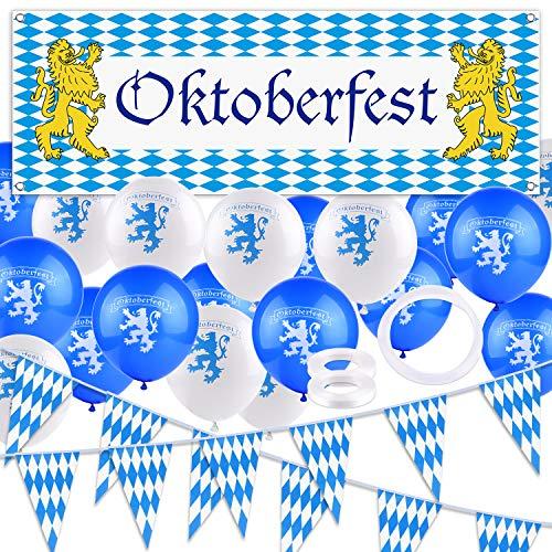 FEPITO Oktoberfest Kit de decoración, Oktoberfest Octoberfest Party Supplies - 98 pies Oktoberfest Flag Pennant Banner, 1pcs Oktoberfest Sign Banner, 20pcs Globos