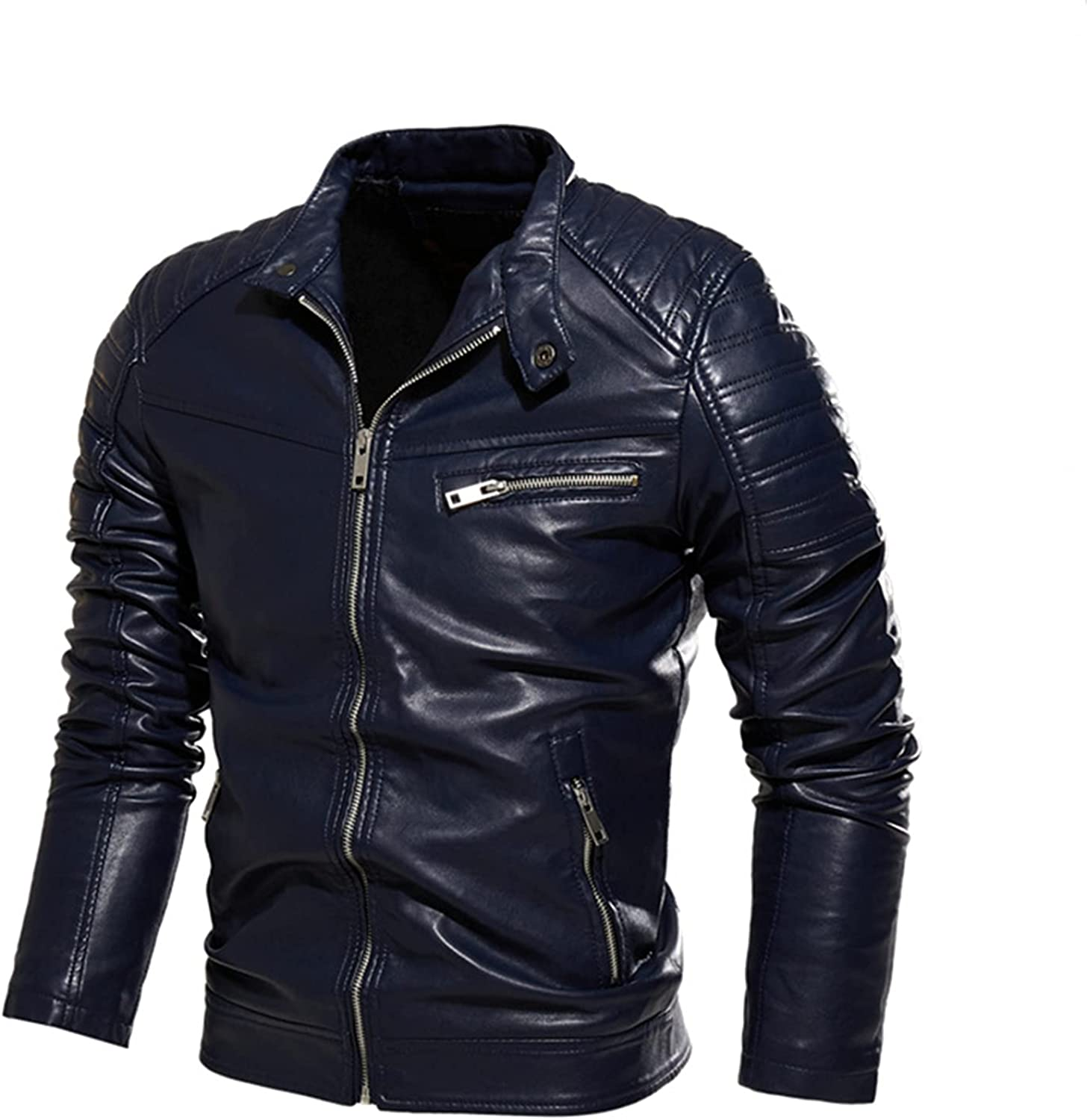 Men's Casual Zip Up Slim Coat,Bomber Faux Leather Jacket,for Casual Outdoor Riding Wear