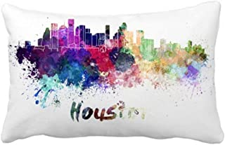 Houston America City Watercolor Throw Pillow Lumbar Insert Cushion Cover Home Decoration