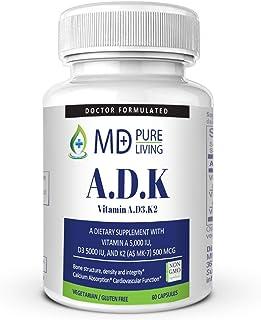 ADK Vitamin - Dr. Formulated High Potency Vitamin ADK (A 5000iu, D3 5,0000 iu, K2-MK7 500mcg) for Heart, Bone, and Vision ...