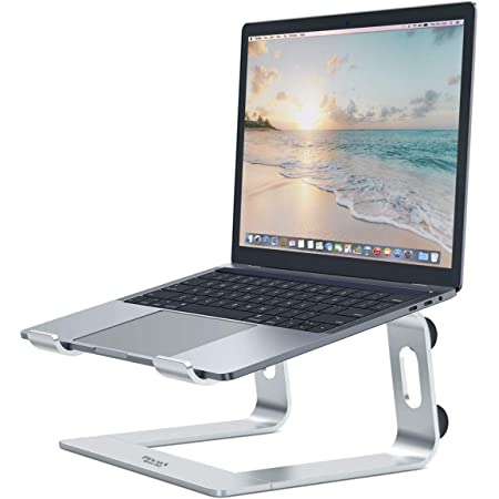 PIVOT LAPTOP STAND | Universal Compatibility for Netbooks, Macbooks, Chromebooks and Laptops | Portable and Easy To Use | Ergonomic | 360 Ventilation | Relieves Neck & Eye Strain | Silver