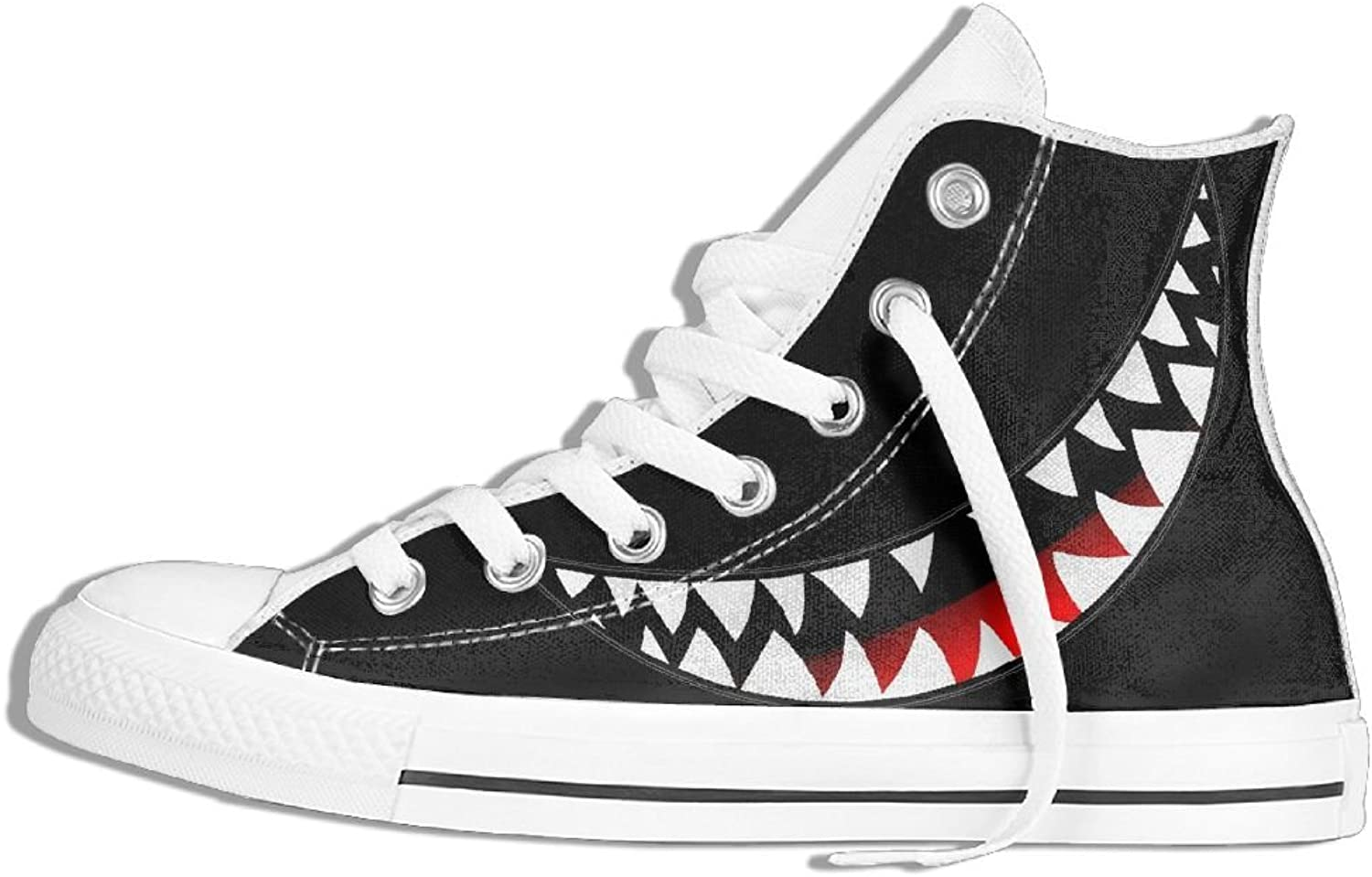 Unisex High-Top Canvas Sneakers Sharp Shark Round Toe Anti Skid Running Trainers shoes