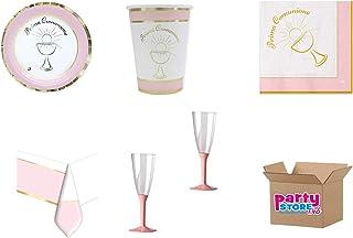 coordonné Communion classic rose pour événements décorations table Fête–Kit N ° 22CDC- (10assiettes, 10gobelets, 20s...