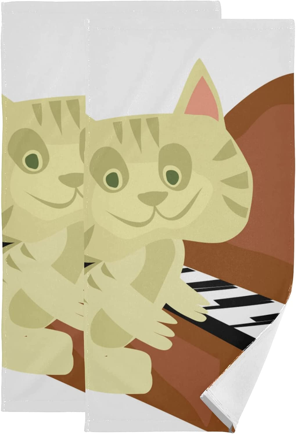 Set of 2 Workout Towel depot for Men Musical Play Art Piano Music Cat New Shipping Free Shipping