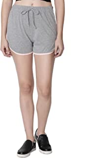 RUTE Women's Cotton Grey Self Tie Waist Mid Loose Shorts for Women's & Girls with Plus Size