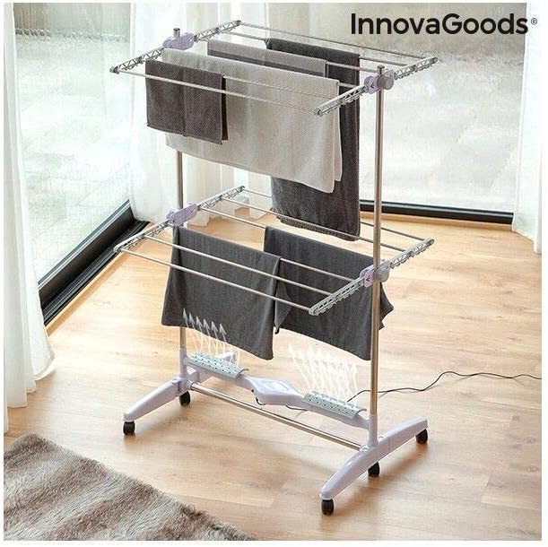 InnovaGoods Tendedero Eléctrico Plegable con Flujo de Aire Breazy (12 Barras) 24W, Blanco, 87 x 143 x 65 cm