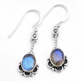 Orecchini pendenti in argento sterling con pietre preziose labradorite per donne e ragazze, orecchini con castone per orec...