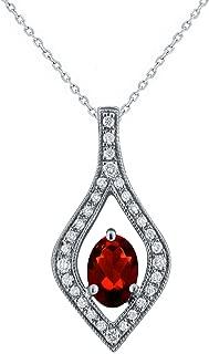 10k White Gold 1/20 ctw Diamond-Accented Oval Rhodolite Garnet Open Leaf Slider Pendant Necklace 18