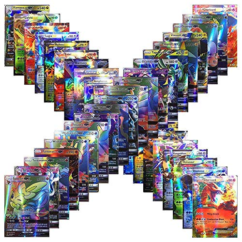 Flyglobal Carte de Jeux de Cartes 100 Pcs Style Carte de Full Art 80 Cartes EX 20 Cartes GX Jeu de Cartes Amusant pour Enfants