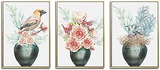 Pink Flower Bottle and Birds Landscape Canvas Poster Wall Art Print Painting Décor Picture Home Decor 60x80cmx3 Frameless