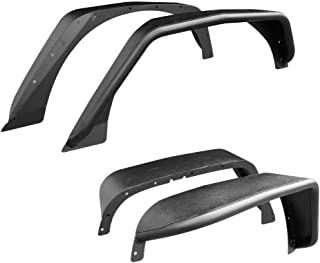 Mifeier Fit 2007-2018 Jeep Wrangler JK Front+ Rear Textured Steel Flat Fender Flares (Drilling Required)
