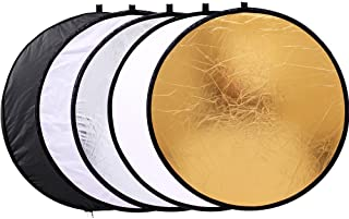 """43""""/110cm 5-in-1 Light Reflector for Photography Collapsible Multi-Disc Round with Bag - Translucent, Gold, Silver, Black ..."""