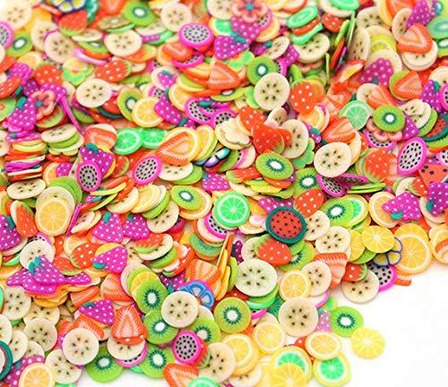 VNDEFUL 500 piezas de rodajas de patrón de frutas, para hacer limos, manualidades, decoración de uñas, suministros