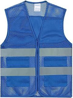 TopTie Unisex US Big Mesh Freiwillige Weste Reißverschluss Sicherheitsweste vorne mit reflektierenden Streifen und Taschen   Blau1   M