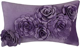 JWH 3D Rose Flower Accent Pillow Cases Handmade Cushion Covers Velvet Pillowcases Home Sofa Office Chair Bed Room Decor 12 x 20 Inch Purple