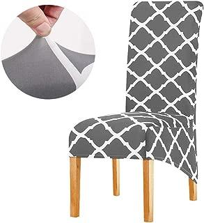 KELUINA Stretch XL Stuhlhussen für Esszimmerstühle 2/4/6 Pcs Stuhl Schutzbezug, elastische Stuhl Protector Sitzbezüge für Esszimmer Hochzeitsbankett Party Dekoration (Grau,6er Set)