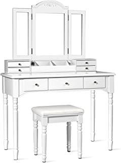 CHARMAID Vanity Set with Tri-Folding Mirror & 8 Necklace Hooks, 7 Drawers, 2 Dividers, 6 Desktop Makeup Organizers, Bedroo...