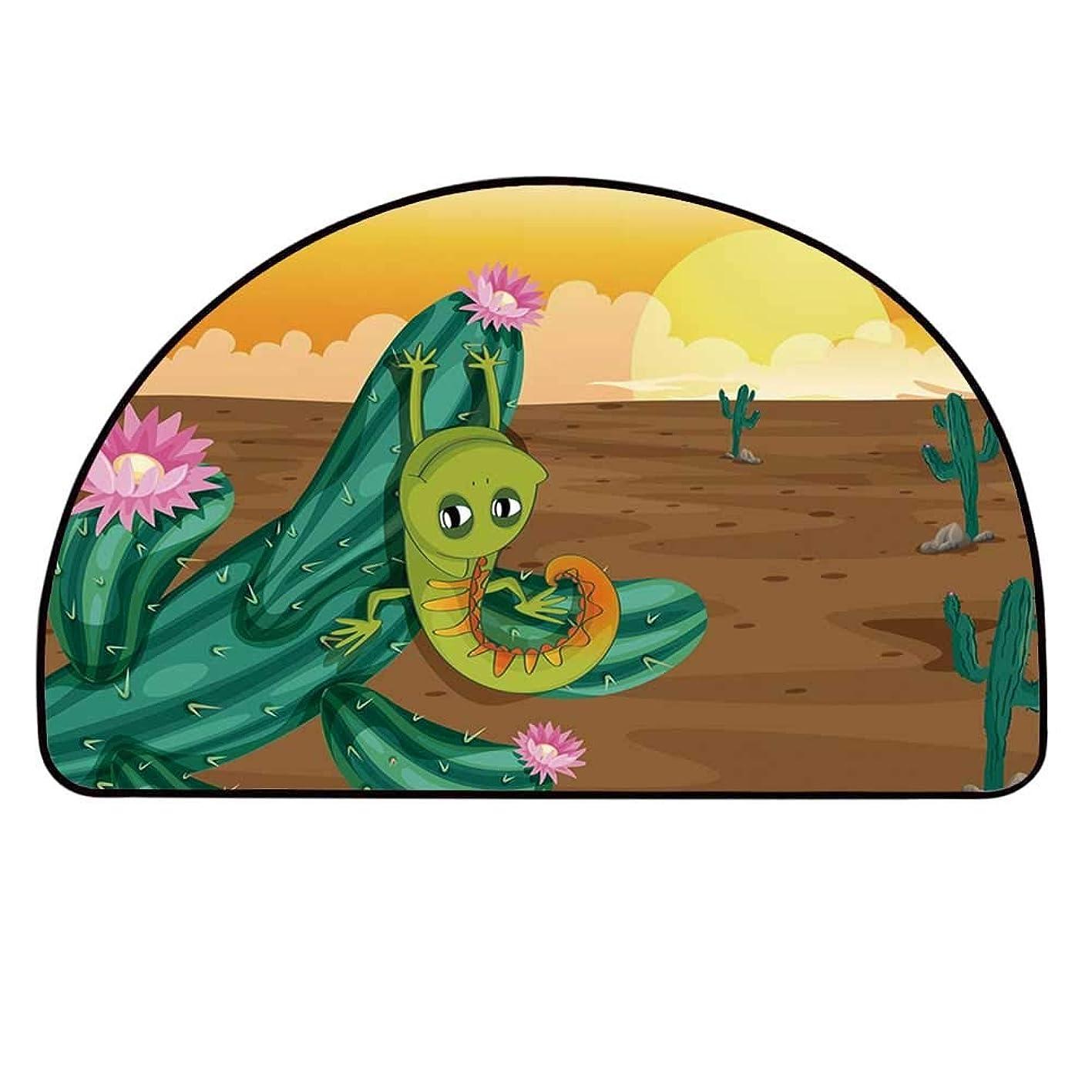 YOLIYANA Cactus Decor Semicircle Rug,Cartoon Style Desert Setting Sun Chameleon on Cactus Arid Country Barren Heath Decorative Floor Mat,37.4