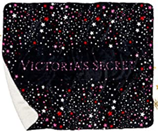 VICTORIA SECRET. RARE- stars and bling SHERPA COZY BLANKET PLUSH SLEEP THROW 50