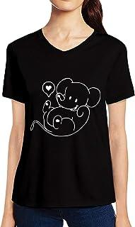 Pooplu Womens Cute Elephant Cotton Printed V Neck Half Sleeves Black & White t Shirt. Animal Tshirts