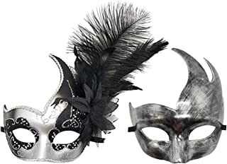 Couple Masquerade Mask Feather Mardi Gras Venetian Cosplay Costume Party Ball Mask