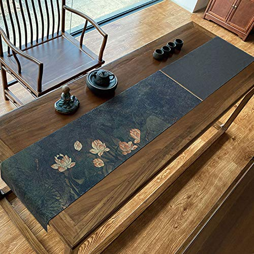 Classical Lotus Linen Table Runner, Tea Table Cloth Waterproof And Heat Insulation, Easy To Clean 32x215cm