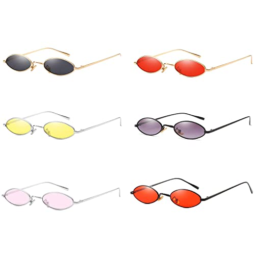 e7babc40359 AOOFFIV Vintage Slender Oval Sunglasses Small Metal Frame Candy Colors