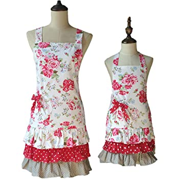 Lovely Classic Style Red Floral Pattern Three Ruffles Mama-Kid Girl Apron Cooking or Baking Apron with Pocket Great Gift For Wife Ladies and 2-5 yrs Old Kid Girl Daughters (Mama and Me Aprons)
