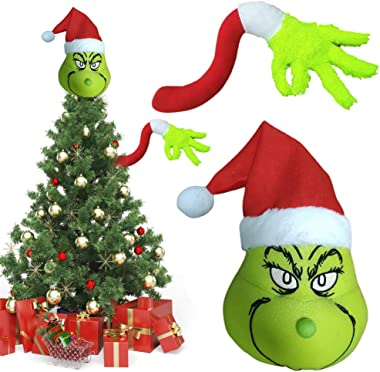 Bonwuno Grinch Christmas Decorations, Grinch Christmas Tree Topper and Furry Green Arm Ornament Christmas Tree Decorations Lo