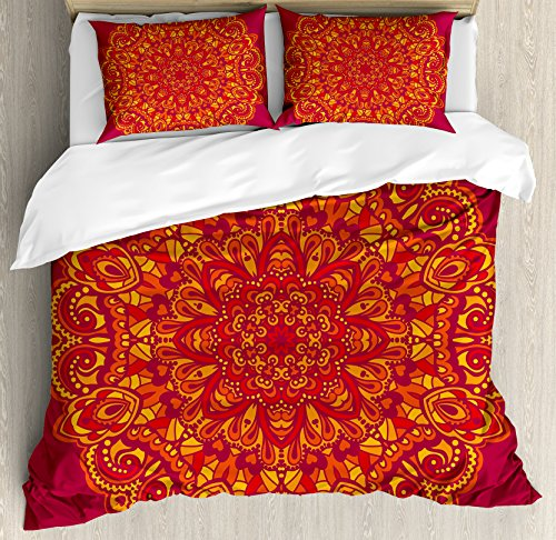 Ambesonne Mandala Duvet Cover Set, Psychedelic Vibrant Colored Mandala Historical Art Elements, Decorative 3 Piece Bedding Set with 2 Pillow Shams, King Size, Vermilion Fuchsia