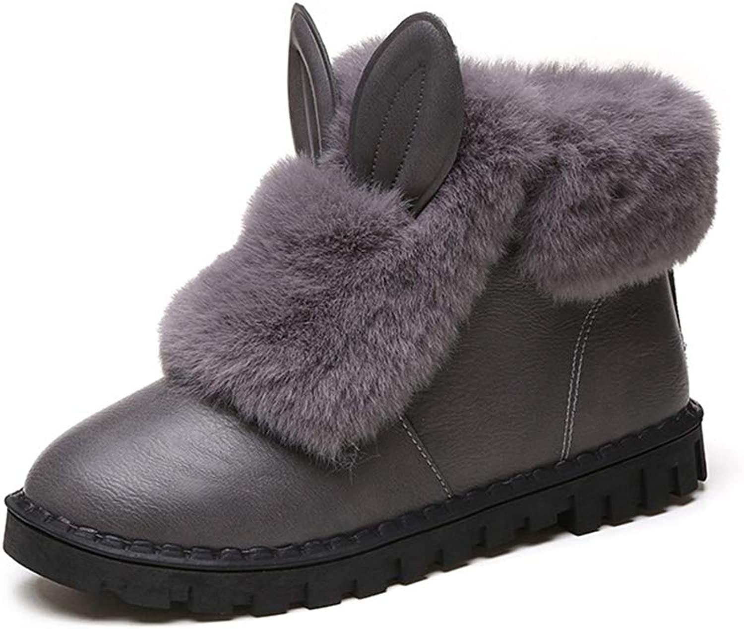 Cici shoes Fur Booties for Women, Sunyastor Women Boots Slip-On Soft Snow Boots Flat Winter Fur Lined Ankle Boots shoes