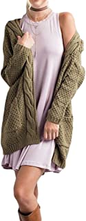 Ferbia Womens Cardigan Sweaters Open Front Long Sleeve Loose Chunky Knit Pointelle Pullover Outwears