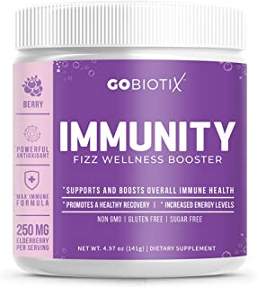Immunity Fizz Wellness Booster by GoBiotix – Vegan Antioxidant Immunity Powder | Organic Super-Food Extract | Elderberry, ...
