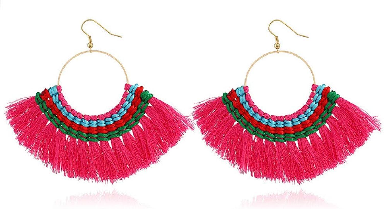 JSGJZB Earring 2 Pairs of Earrings Jewelry Exaggerated Bohemian Ethnic Style pop Earrings line Woven Tassel Earrings Female