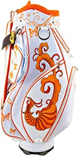 Golf Bag, Lightweight and Portable, Leather Fabric, Exquisite Pattern, Multi-Color Optional Golf Bags for Men (Color : Orange)