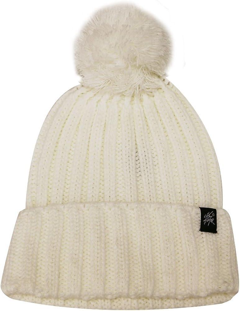 City Hutner Ck1081 Solid Pom Pom Knit Beanie Hat (7 Colors)