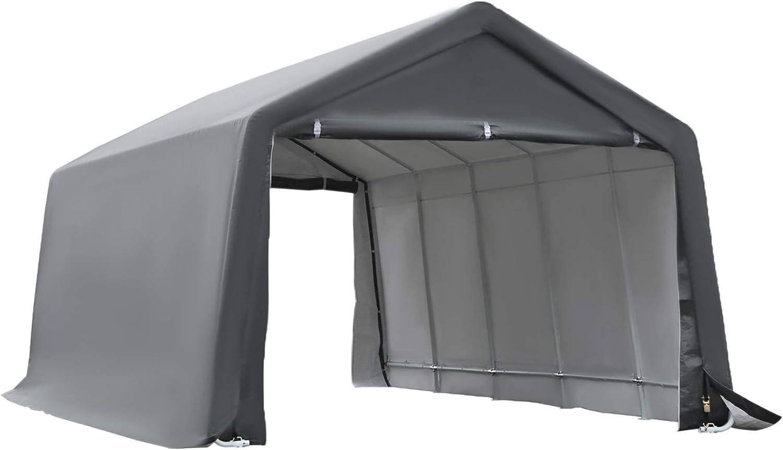 Amazon Com Outsunny 20 X 12 Heavy Duty Outdoor Temporary Carport Canopy Tent With Durable Construction A Simple Setup Grey Garden Outdoor