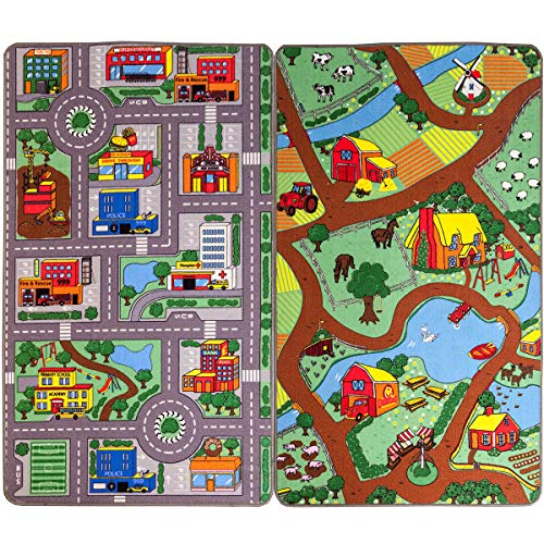 Reversible Road Map Farm Animal Cars Rug Play Mat 100cm x 165cm (3'3 x 5'4 approx) by The Good Rug Company